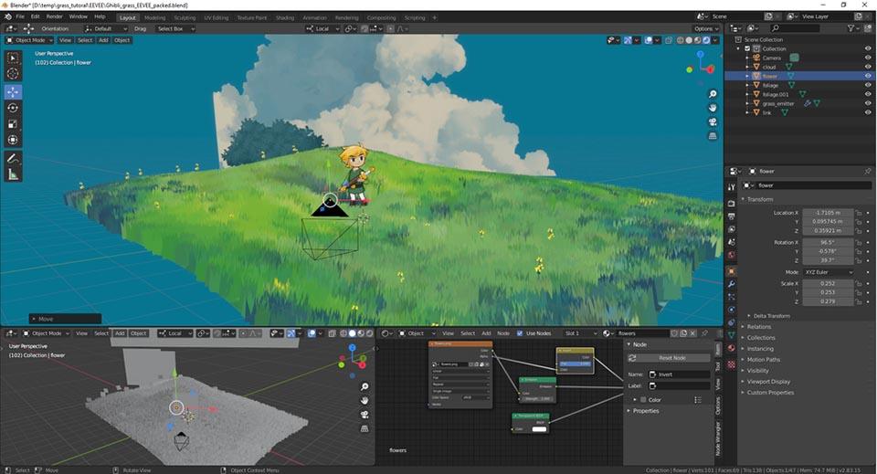 Agancg_在Blender中制作GhibliBoTW动漫的风格化草